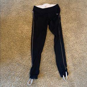 Nike leggings black with white stripe size small